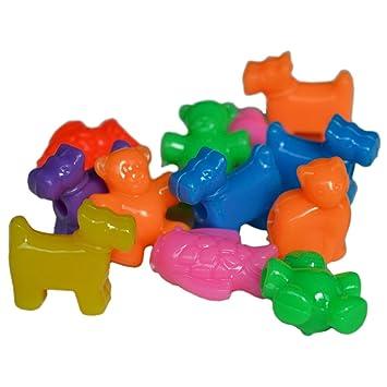 Plastik Perlen Tiere Zum Auffädeln Kinder Ketten Basteln
