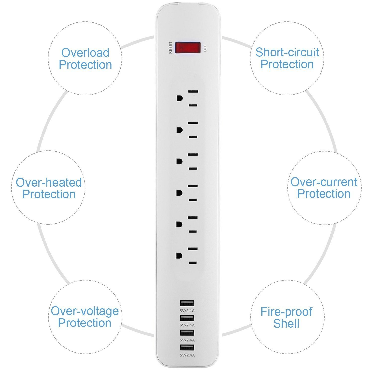 Gomyhom Power Strip 6 Outlet Surge Protector With 4 Usb Circuit Diagram Of Over Voltage Charging Ports 5v 24a 300 Joule Feet Long Cord For Home Office White Electronics