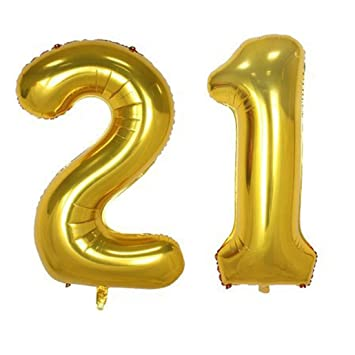 40inch Gold Foil 21 Helium Jumbo Digital Number Balloons 21st Birthday Decoration For Girls Or
