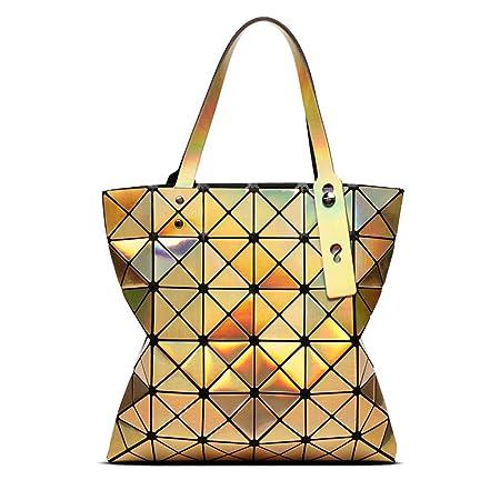 41041b8da6876b Frauen Handtasche Rhombische Geometrie Tasche Falten Laser Tasche  Persönlichkeit Umhängetasche Große Kapazität Einkaufstasche Arbeit (Farbe