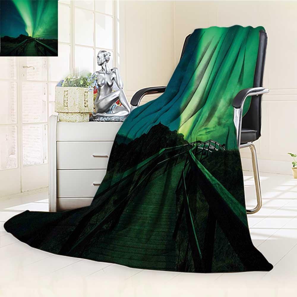 YOYI-HOME Luxury Collection Ultra Soft Plush Fleece Bridge Solar Sky Scenic Radiant Rays Arctic Magic Scenery Fern Green Dark Blue All-Season Throw/Bed Blanket /W69 x H47