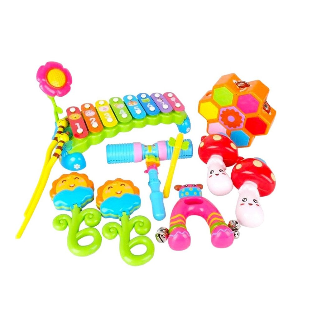 O-Toys Baby Rattle Toys for Infants Xylophone Musical Instruments Set for Kids Early Educational Learning Pounding Bench Toy