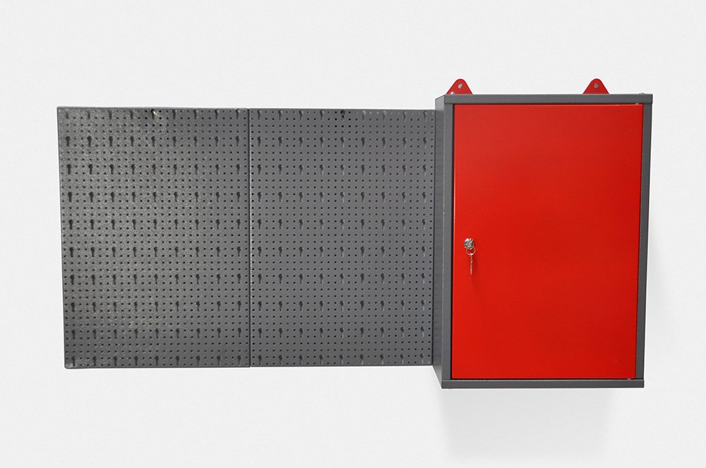 und Industriegebrauch. Metallschrank inklusive Hakenwand mit 20 Haken und Euro Lochung Topp f/ür den Heim Aus robustem Material in Hammerschlag-Grau und Rot