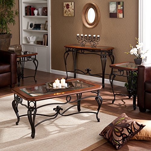(Southern Enterprises Prentice Living Room Table Set of 4, Black with Dark Cherry Finish)