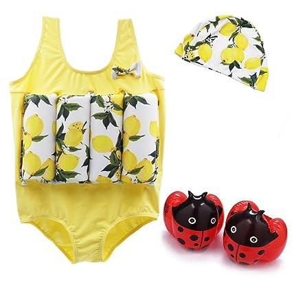 Vine Traje de natación para niños Chaleco de natación para traje de flotación bebé Amarillo