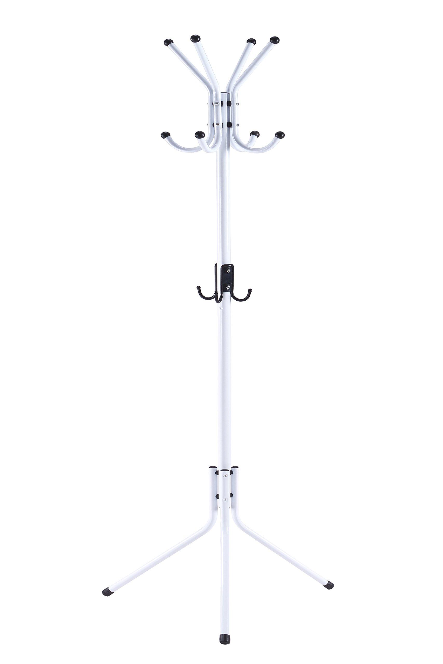 WILSHINE Coat Rack Standing Coat Tree White Metal Modern with 12 Hooks