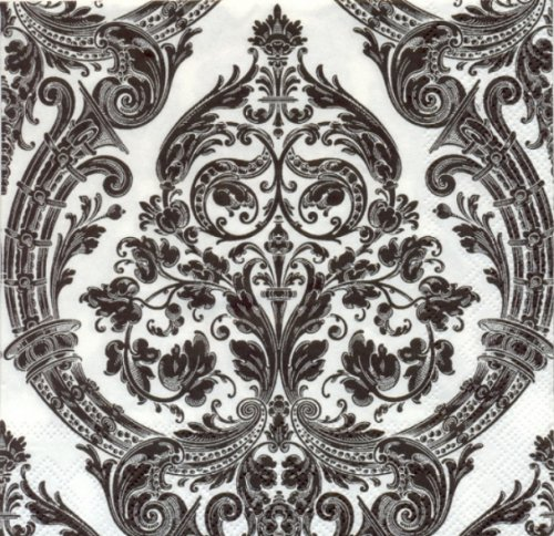 Ideal Home Range 3-Ply Paper Luncheon Napkins, White with Black Grandeur, 20-Count (Pack of 2) Damask Resource Pattern
