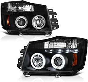 [For 2004-2015 Nissan Titan & 2005-2007 Armada] CCFL Halo Ring Black Housing Projector Headlight Headlamp Assembly, Driver & Passenger Side