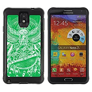 ZeTech Rugged Armor Protection Case Cover - Dream Catcher Owl Painting - Samsung Note 3