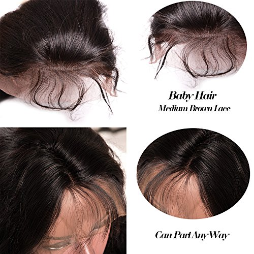 BeliHair 24'' Brazilian Remy Lace Front Wigs Straight Human Hair Wig Glueless with Baby Hair for Black Women 130% Density Natural Black by Belihair (Image #5)