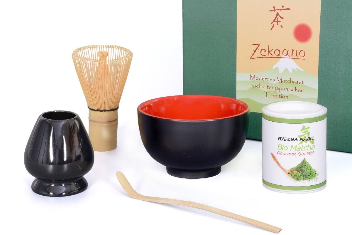 Bio Matcha Starter Set 5Pieces 250ml Malika Black/Red–Matcha Bamboo Spoon/Brush/Broom Hanger/Organic Matcha Tea in Gift Box–Aricola®