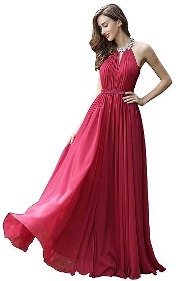 41a74b7727dd eDressit Burgundy Pleated Halter Formal Evening Dress (00170317) at Amazon  Women s Clothing store