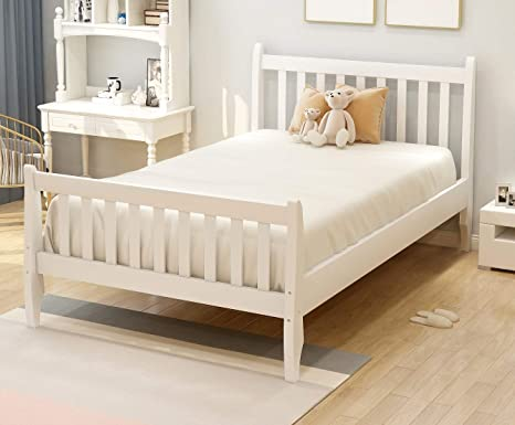 Wooden Twin Size Bed.Rhomtree Twin Size Wood Platform Bed Frame Kids Bed With Headboard And Wood Slat Support Mattress Foundation No Box Spring Needed White