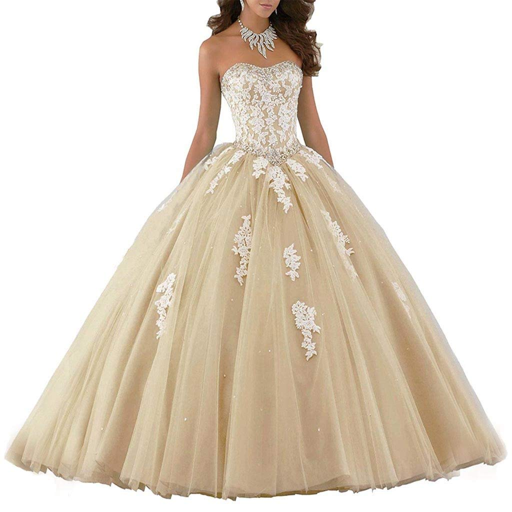 Champagne Vantexi Women's Elegant Lace Tulle Prom Dress Quinceanera Dresses Sweet 16 Ball Gown