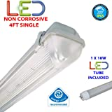 4FT SINGLE LED 18W - NON CORROSIVE WEATHERPROOF FLUORESCENT LIGHT FITTING - IP65 - ENERGY EFFICIENT OUTDOOR STRIP LIGHT - IDEAL FOR GARAGES, WORKSHOP, SHEDS, GREENHOUSES OR COMMERCIAL APPLICATIONS - STURDY CONSTRUCTION - POLYCARBONATE DIFFUSER - BRANDED - 3 YEAR LAMP GUARANTEE - INCLUDES LED TUBE 18 WATT