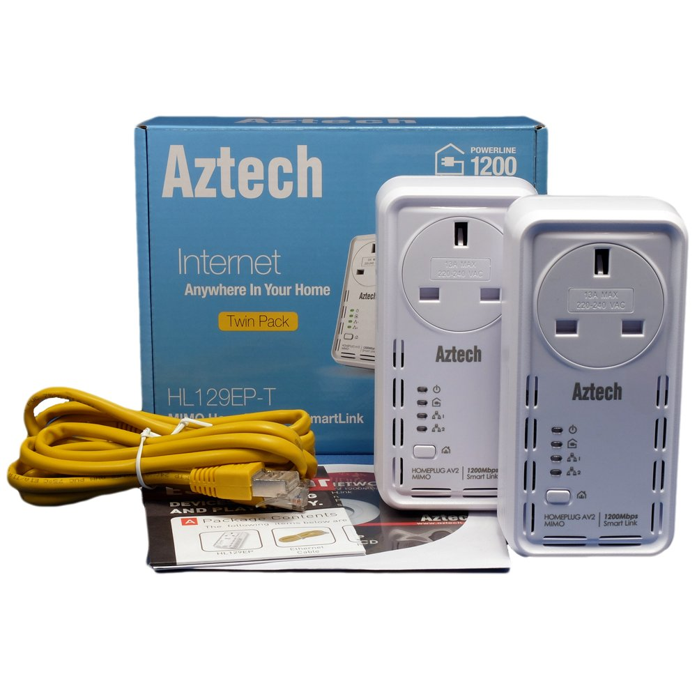 Aztech Solwise 1200av Smartlink Powerline Homeplug Av2 Ethernet Home Plug Wiring Adapters With Filtered Mains Passthrough And 2 X Gigabit Ports Twinpack