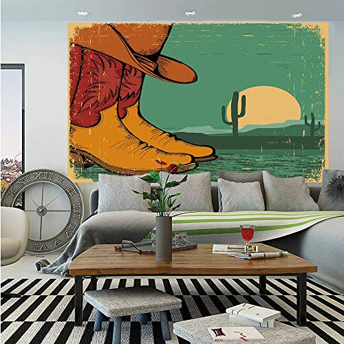 Specification Desert Boot - Western Huge Photo Wall Mural,Desert Landscape Vintage Boots and Hat Grungy Old Display Cowboy Decorative,Self-adhesive Large Wallpaper for Home Decor 108x152 inches,Jade Green Ruby Earth Yellow