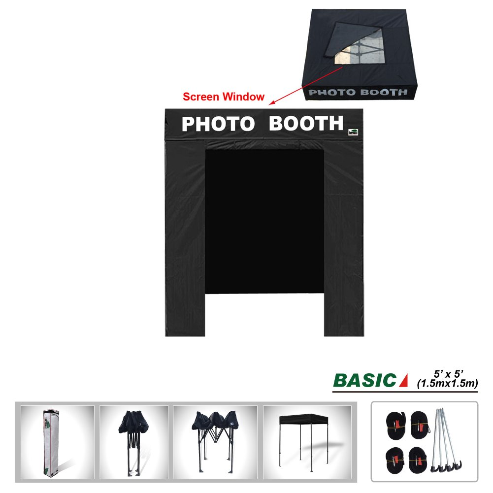 Eurmax Basic 5x5 Pop Up Canopy Tent with Photo Booth Printed On 4 Valances (5 x 5 Flat Top)