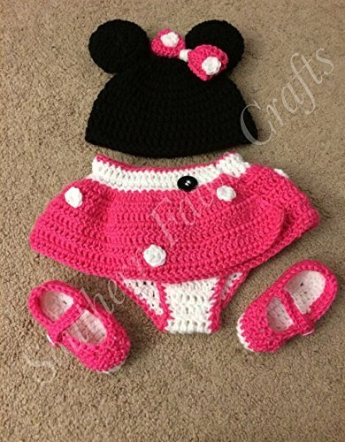 Amazon Crochet Minnie Mouse Outfit 0 3 Months Handmade