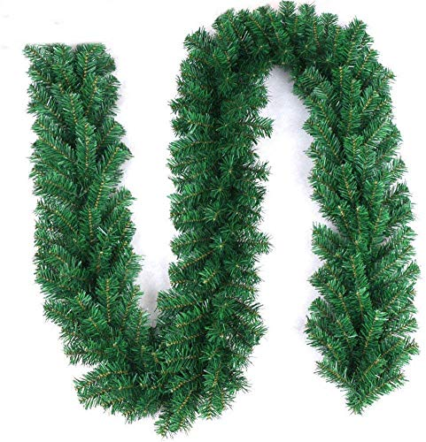 Pataku 9 ft Artifical Garlands Christmas Wreath for Fireplace, Mantel, Stairs Railings and Doorway, Front Door Wedding Party Home Garden Greenery Decorations (180T)