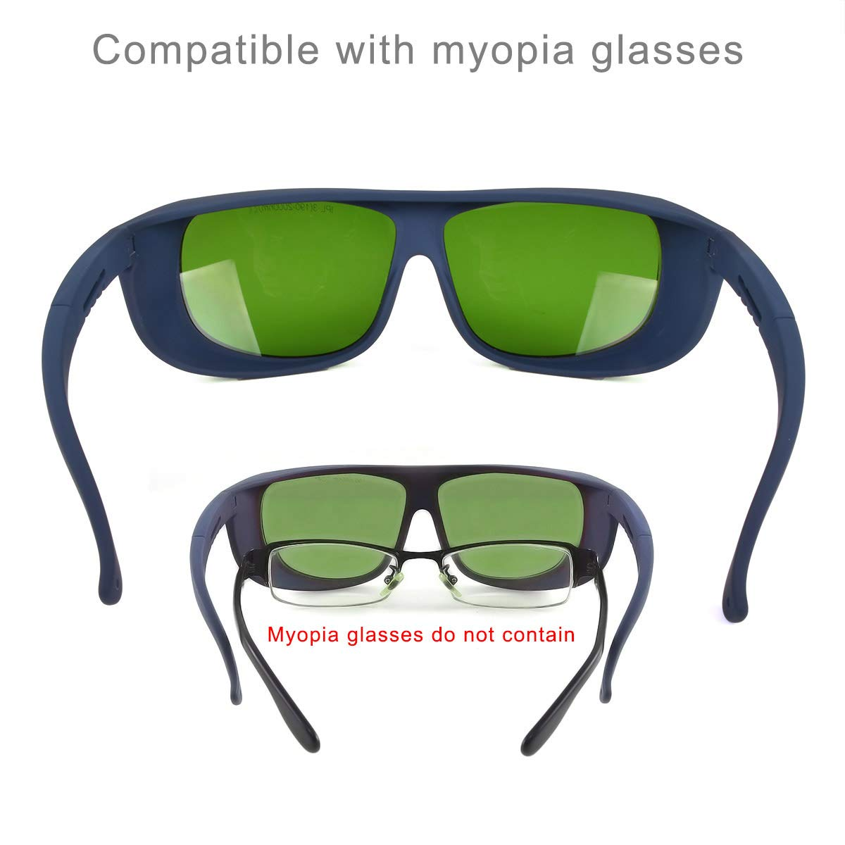 190nm-2000nm Wavelength IPL Laser Safety Glasses for Medical Eye Protection/Laser Cosmetology Operator Eyewear Compatible with Myopic Glasses (Black) by FreeMascot (Image #4)