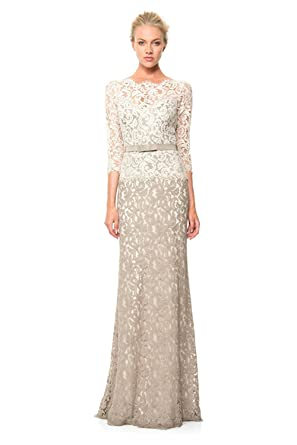 Newdeve Sheath Lace 3/4 Sleeves Dark Ivory Formal Dresses Long (2)