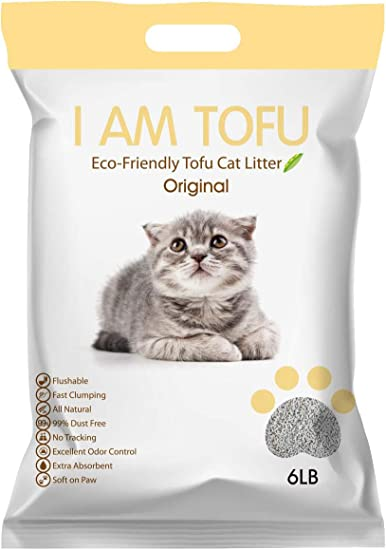 Carbon Crushed Tofu Cat Litter Odour Fighter 5.36LB 1 Pack, Grey Junai Pet Natural Flushable Clumping Active