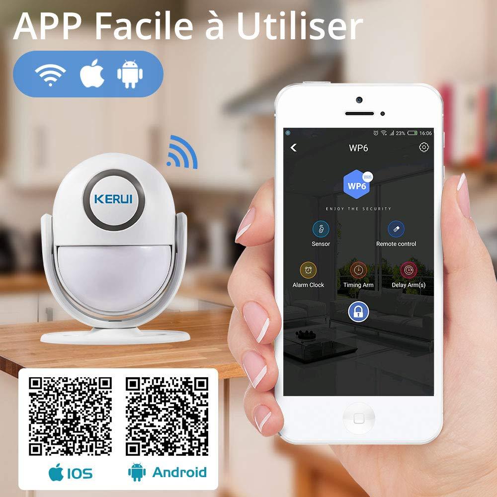 Kerui - Casa inteligente WiFi, control de app antirrobo, sistema de alarma de puerta infrarrojos, detector de movimiento
