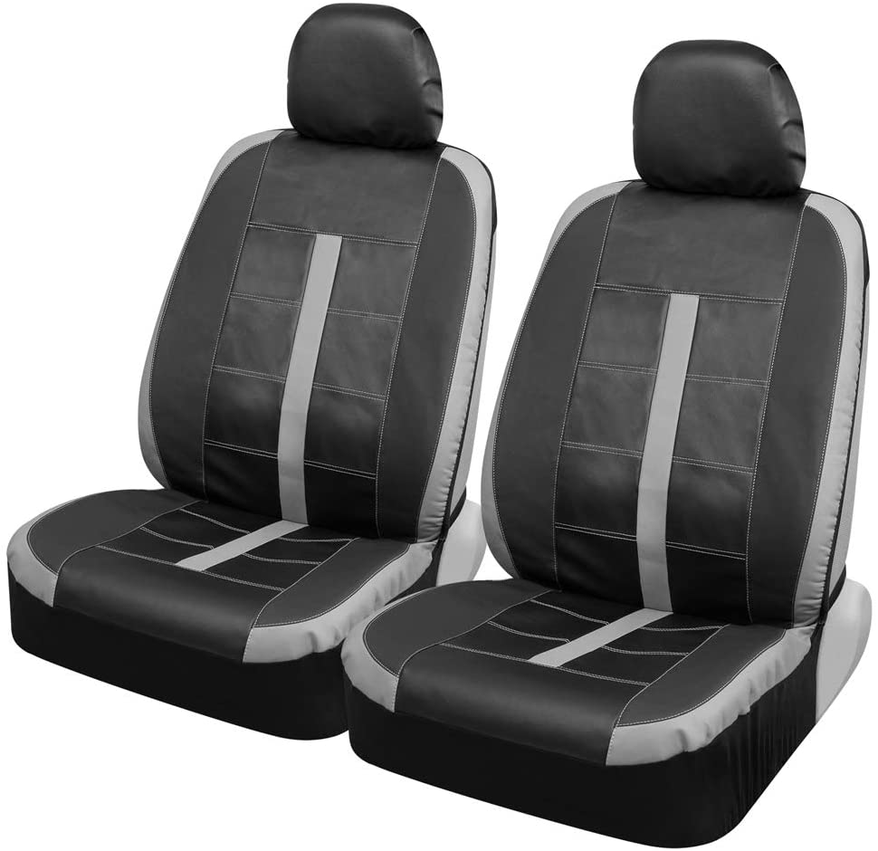 Motor Trend M234 Gray Stitched Leather Car Seat Covers for Front Seats Only – Premium Automotive Bucket Seat Covers, Made for Vehicles with Removable Headrests, Universal Fit for Car Truck SUV