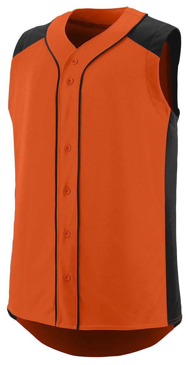 Augusta SportswearメンズノースリーブSlugger野球ジャージー B01B6OG6Z6 Large オレンジ/ブラック オレンジ/ブラック Large