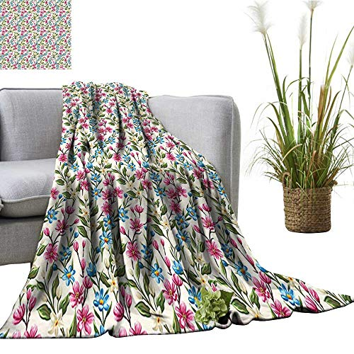 (YOYI Comfortable Blanket Chic Buds Leav Ivy Garden Print Pink and Blue Cozy Hypoallergenic 60