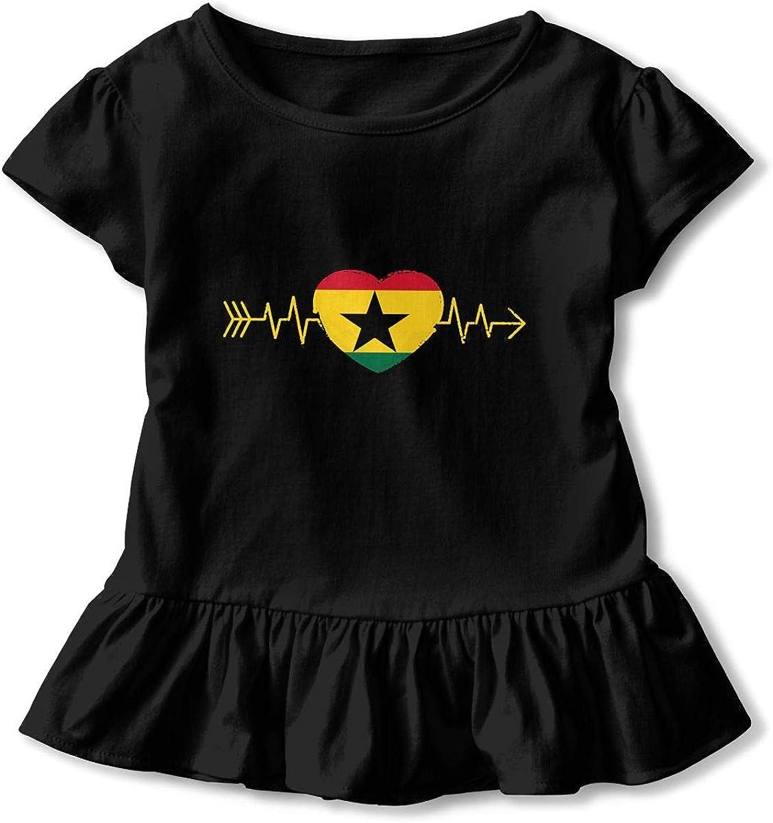 Ghana Country Flag Heartbeat Pride Toddler Girls T Shirt Kids Cotton Short Sleeve Ruffle Tee