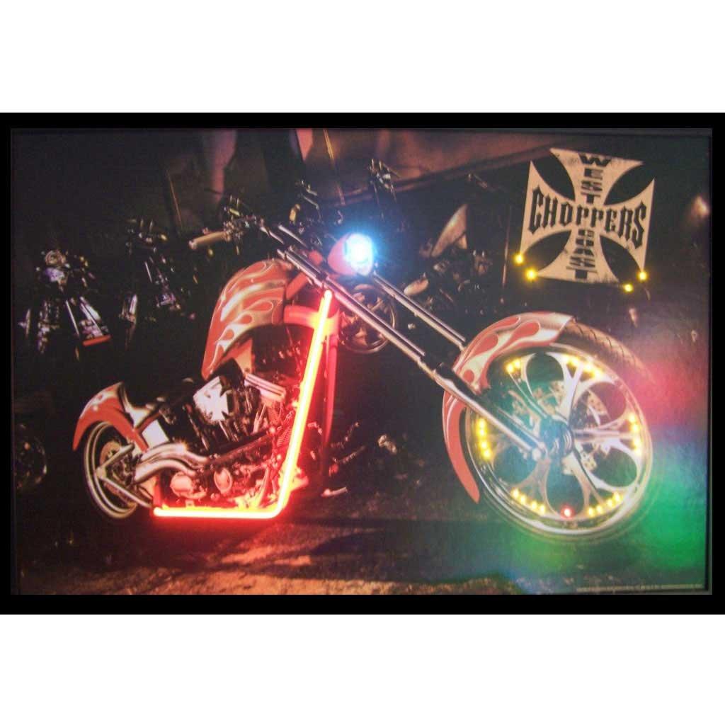Neonetics West Coast Choppers Bike Neon LED Lighted Framed Photographic Print