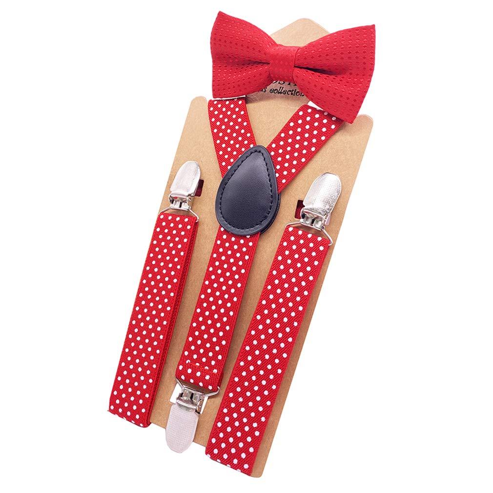 AYOSUSH Polka Dot Suspenders and Bow Tie Set for Boys Kids Y Back 3 Clip Elastic