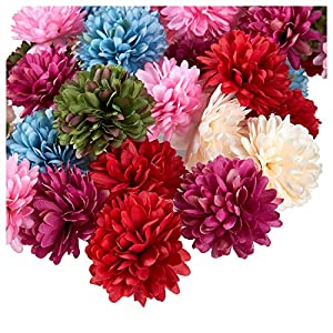 Juvale Artificial Flower Heads - 60-Pack Fake Fabric Flowers for Wedding Decorations, Baby Showers, DIY Crafts, Multiple Colors 40