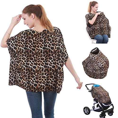 4-in-1 Nursing Top Cover: Soft And Breathable Breastfeeding Cover, Baby Car Seat And Stroller Protective Canopy, Oversized Fashion T-Shirt – Stretchy And Comfortable Poncho Shawl Leopard - Leopard Car Seat