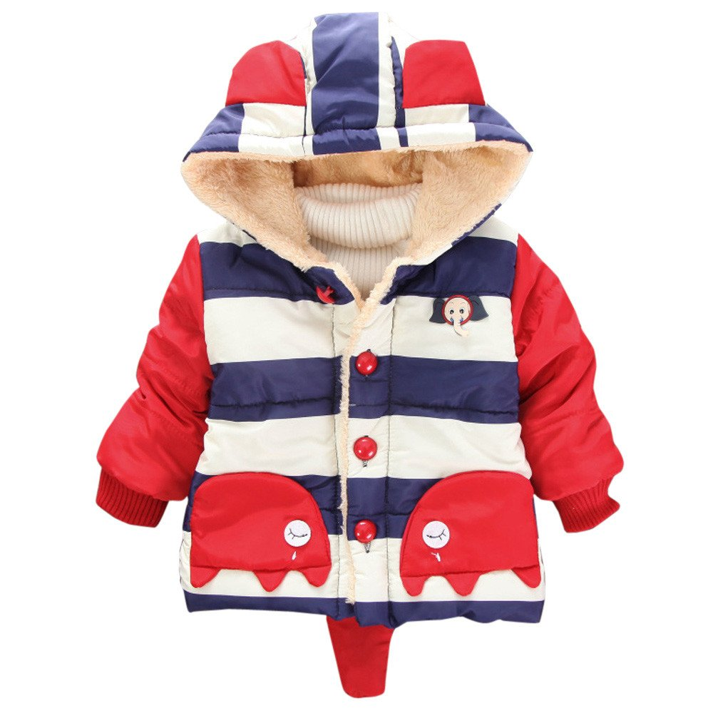 Little Kids Winter Warm Coat,Jchen(TM) Clearance! Kids Baby Little Girl Boys Winter Cartoon Elephant Striped Hooded Coat Jacket Thick Warm Outerwear for 0-4 Years Old (Age: 3-4 Years Old, Red)