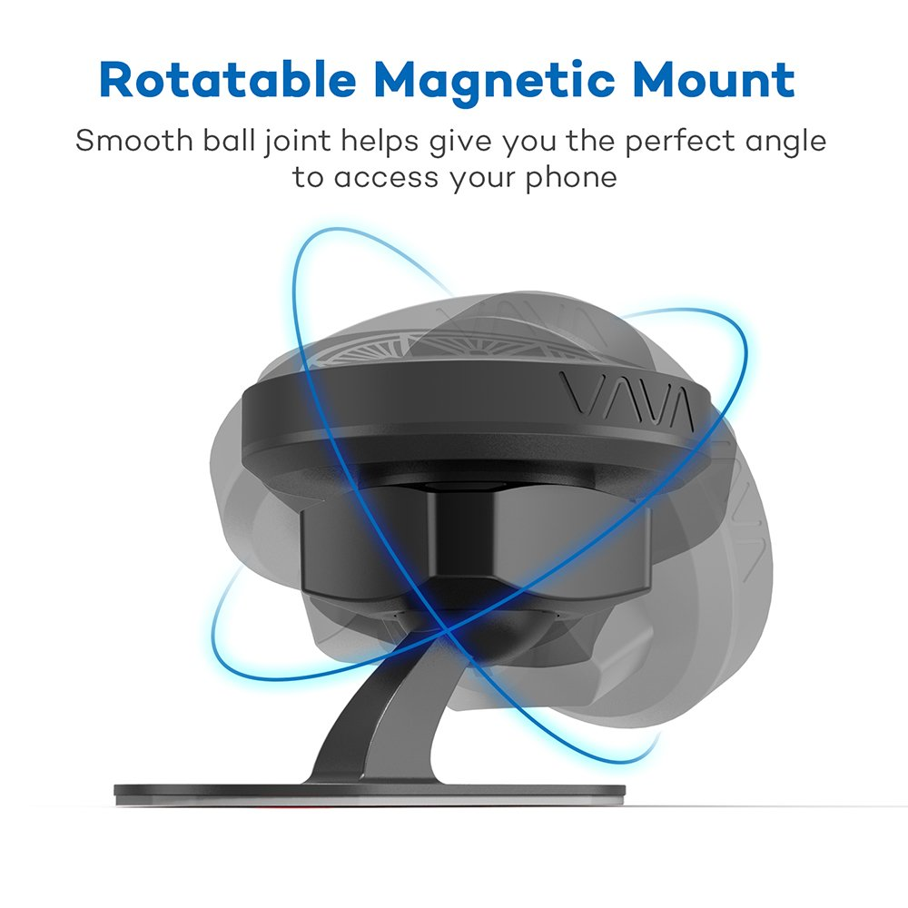 VAVA Magnetic Phone Holder for Car, Universal Stick On Dashboard Magnetic Car Phone Mount (360° Adjustable Holder with 3M Adhesive Covering and Two Metal Plates; Quick and Easy Installation) by VAVA (Image #2)