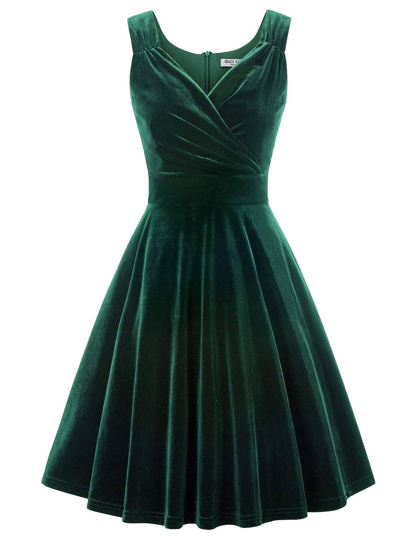 GRACE KARIN Women Velvet Dress 50s Vintage Sleeveless V-Neck A-Line Cocktail Christmas Party Prom Dress