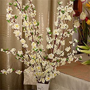 Alapaste 5 Pcs Artificial Peach Blossom Silk Simulation Flowers Cherry Plum Bouquet Branch Peach Branches Arrangements for Home Wedding Decoration