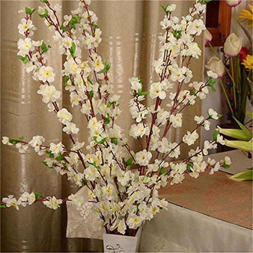 Flower Branch Plum (Toyfun 5 Pcs Artificial Peach Blossom Simulation Flowers Cherry Plum Bouquet Branch Fake Silk Flowers Tree Arrangements for Home Wedding Floral Decoration (White))