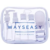 WAYSEASY Travel Bottles Squeezable Plastic and Silicon Travel-Sized Bottle, Handy Carry-on Toiletry Bag Durable Travel Kit Bottle Set Leak-proof with Clear Quality Zip Pouch