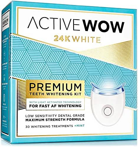 Active Wow Teeth Whitening Kit - LED Light, 36% Carbamide Peroxide, Mint