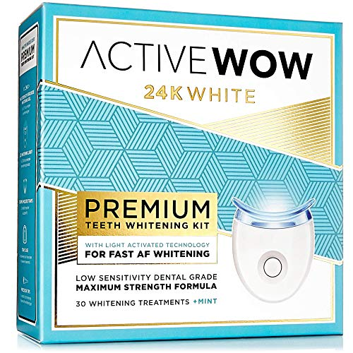 (Active Wow Teeth Whitening Kit - LED Light, 36% Carbamide Peroxide, Mint)