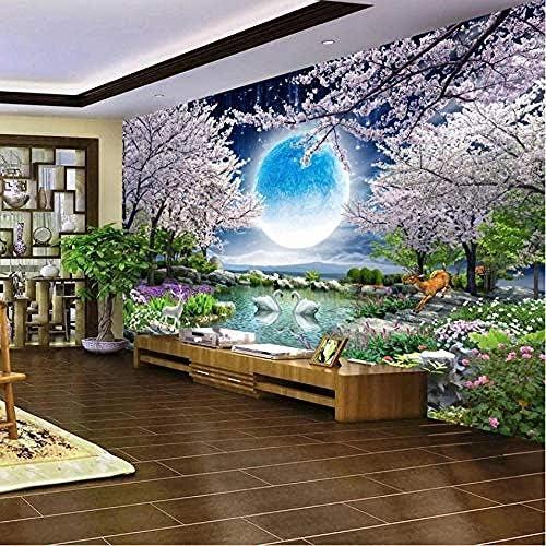 LjunJ 3D壁画リムーバブル壁画壁紙月桜の木自然風景壁画リビングルーム寝室写真壁紙-250X175CM