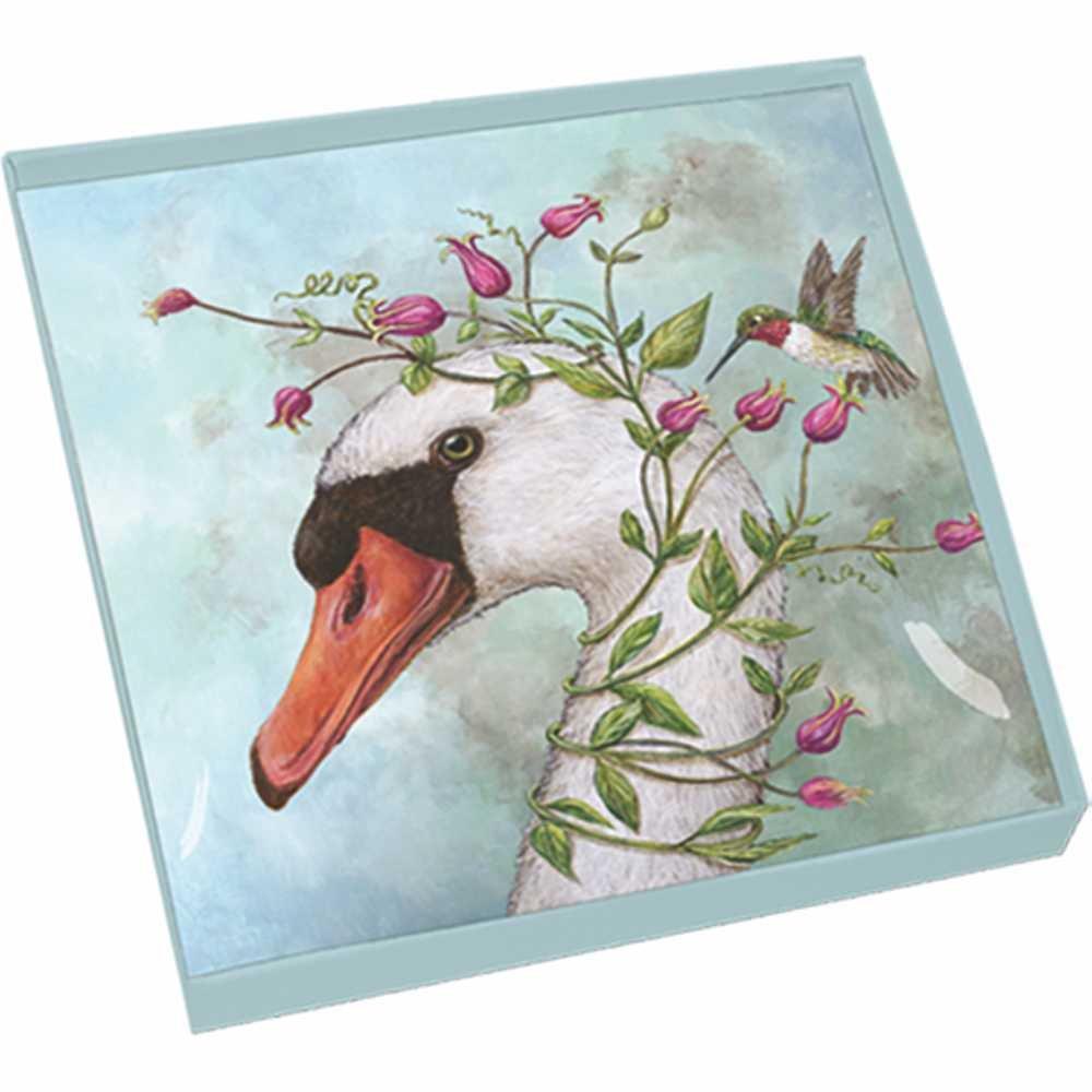 Paperproducts Design Gift-Boxed Glass Dish Displaying Original Vicki Sawyer Iris & Stanley Design, 6 x 6 x 1'', Multicolor