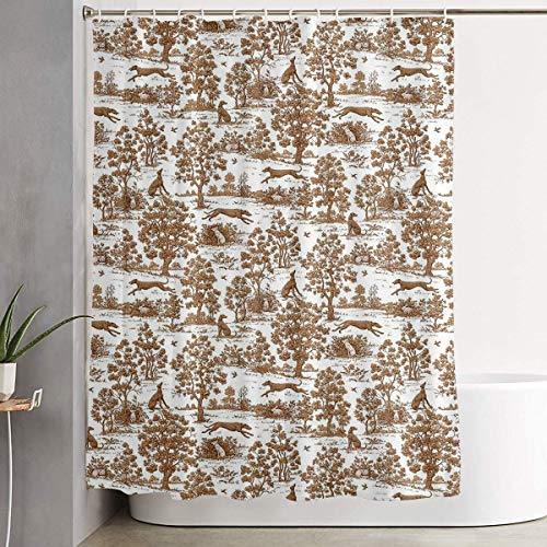 (Breezming Brown Greyhound Toile Shower Curtain Waterproof Bathroom Decor Funny Novelty with Hooks 60 X 72 Inch )