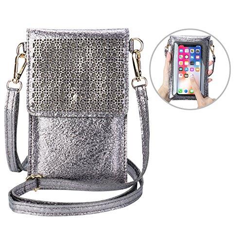 seOSTO Small Crossbody Bag Cell Phone Purse Wallet with 2 Shoulder Strap Handbag for Women Girls (Metallic Grey)
