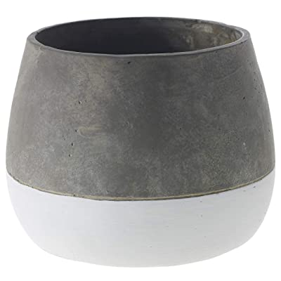 Grey and White Round Ceramic Planter - 6.75 X 6.75 X 5.25 Inches - Accent Decor Ash Cement Pot - Modern Vase Decor for Home or Office. : Garden & Outdoor