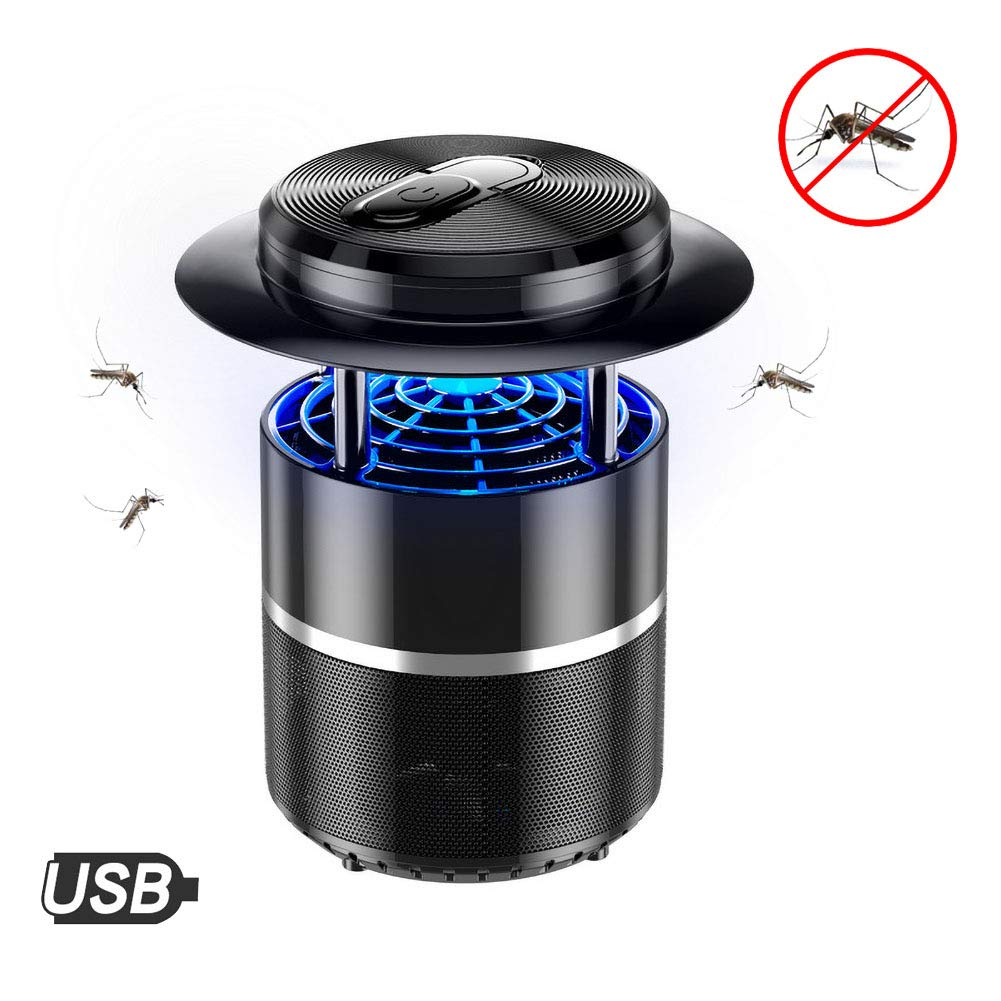 Black Portable LED Mosquito Killer Lamp,USB Fly Killer Lamp Insect Inhaler AntiMosquito Lamp,for Indoor Outdoor Home Office,Black
